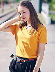Damen Solide Sexy Alltag T-shirt,V-Ausschnitt Kurzarm Baumwolle
