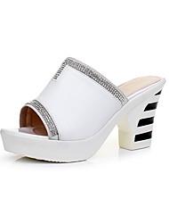 Damen Sandalen Komfort Leder Sommer Komfort Blockabsatz Weiß Schwarz 5 - 7 cm