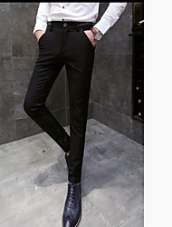 Men's Mid Rise strenchy Business Pants,Street chic Slim Solid
