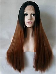 Two Tones Ombre Brown Synthetic Lace Front Wigs Long Straight Heat Resistant Fiber Hair For Women Black Roots Wig