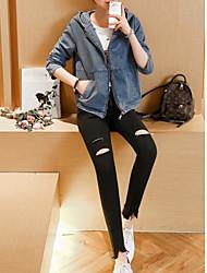 Feminino Jaqueta jeans Com Capuz