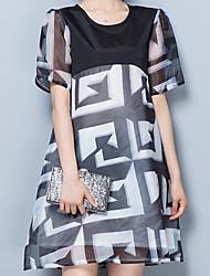 Damen Geometrisch Einfach Lässig/Alltäglich T-shirt,Rundhalsausschnitt Sommer Kurzarm Polyester