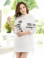 Women's Casual Simple Shirt,Letter & Number Stand Half Sleeve Cotton
