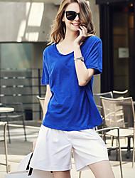 Damen Solide Einfach T-shirt,Rundhalsausschnitt Kurzarm Baumwolle