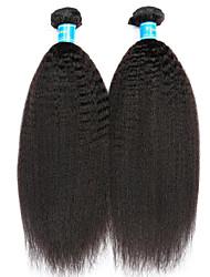 Hot Selling! Kinky Straight Malaysian Human Hair Weaves 100% Virgin Human Hair Extensions 2Pieces Human Hair Weave Bundles