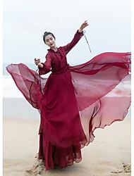 Ramie Cotton Women's Holiday Swing DressSolid V Neck Maxi Long Sleeve Polyester Summer Low Rise Micro-elastic Medium