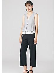 Tee-shirt Femme,Rayé simple Sans Manches Col en V Polyester