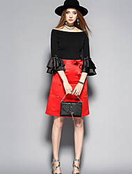 ANGEL Women's Going out Casual/Daily Cute Spring Summer Shirt Skirt SuitsSolid Bateau 3/4 Length Sleeve Inelastic