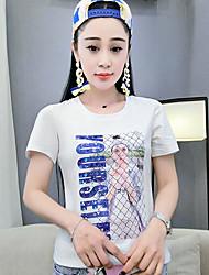 Damen Solide Druck Einfach T-shirt,Rundhalsausschnitt Sommer Kurzarm Baumwolle Dünn