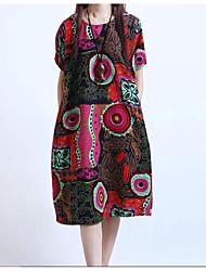 Ample Robe Femme Grandes Tailles Chinoiserie,Géométrique Col Arrondi Mi-long Manches Courtes Lin Eté Taille Normale Non Elastique Fin