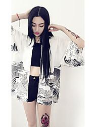 Women's Daily Magnetic Cat Eye Summer Jacket,Solid Print Round Neck Half Sleeve Regular Silk