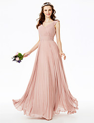 A-Line V Neck Floor Length Chiffon Bridesmaid Dress with Sashes / Ribbons Pleats Draped by LAN TING BRIDE®