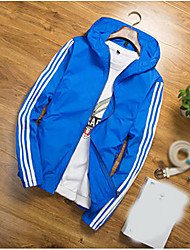 Men's Daily Casual Summer Jacket,Solid Striped Hooded Long Sleeve Regular Chinlon
