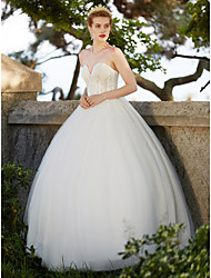 2017 Ball Gown Wedding Dress - Elegant & Luxurious Simply Sublime Open Back Floor-length Sweetheart Tulle with Appliques Beading