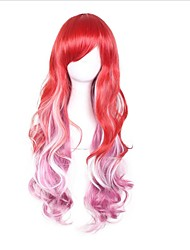 Synthetic Wigs Cosplay Costume Long Curly Ombre Red/White Wig Capless Wig