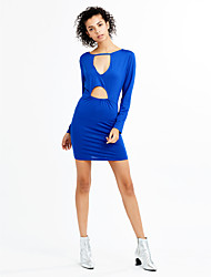 Women's Cut Out Party Club Sexy Street chic Sheath DressSolid Cut Out Temperament Slim Deep V Above Knee Long Sleeve
