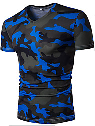 Men's Casual Daily Summer Prints Camouflage Color V-neck Short Sleeve Cotton Thin T-shirt
