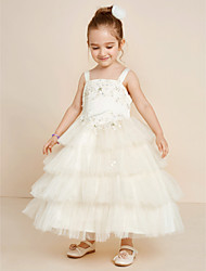 Ball Gown Ankle Length Flower Girl Dress - Satin Tulle Strap with Crystal Applique Beading Pleats Tiered
