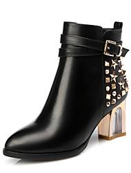 Damen Stiefel Leder Herbst Winter Walking Niete Reißverschluss Blockabsatz Schwarz 5 - 7 cm