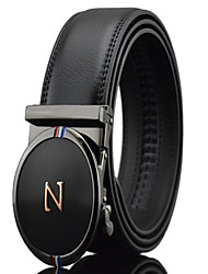 Men's Simple N letters Black Genuine Leather Alloy Automatic Buckle Waist Belt Work/Casual/Party All Seasons