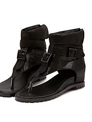 Women's Sandals Gladiator Comfort Cowhide Spring Casual Khaki Black Flat