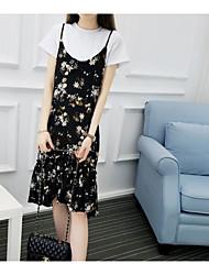 Damen Shirt Rock Anzüge,Rundhalsausschnitt Frühling Kurzarm