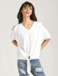 Damen Solide Retro Einfach T-shirt,V-Ausschnitt Kurzarm Baumwolle