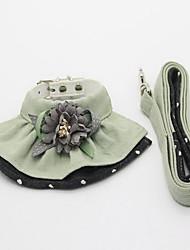 Collar Leash Foldable Adjustable Flower/Floral Lace Fabric