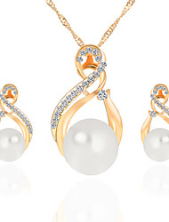 Women's Jewelry Set Necklace/Earrings Bridal Jewelry Sets Imitation Pearl Rhinestone Dangling Style Pendant Rhinestone Pearl Circle