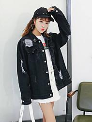Feminino Jaqueta jeans Para Noite Vintage Primavera,Estampado Padrão Algodão Colarinho Chinês Manga Longa