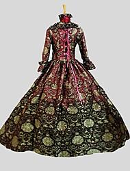 Costume de Soirée Gothique Victorien Cosplay Vêtrements Lolita Jacquard Rétro Manches 3/4 Cheville Robe Jupon PourComme Soie Satin Tissu