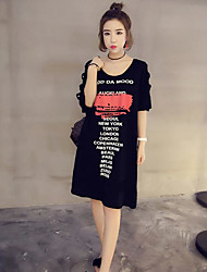 Damen Buchstabe Einfach Lässig/Alltäglich T-shirt,Rundhalsausschnitt Sommer Kurzarm Baumwolle