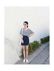 Для женщин Повседневные Лето Рубашка Юбки Костюмы V-образный вырез,На каждый день Полоски 1/2 Length Sleeve