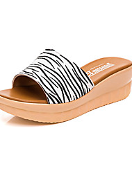 Women's Sandals Casual Leather Summer Daily Wedge Heel Pool Black 2in-2 3/4in