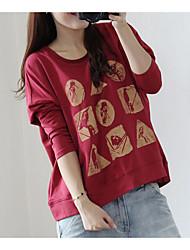 Tee-shirt Femme,Imprimé Quotidien simple Manches Longues Col Arrondi Coton