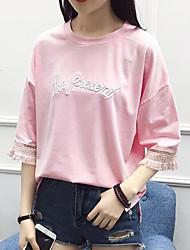 Damen Solide Niedlich Ausgehen T-shirt,Rundhalsausschnitt ½ Länge Ärmel Baumwolle