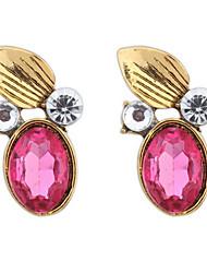 Euramerican Vintaged Adorable Luxury Gemstone Round  Leaf  Earrings Lady Daily Stud Earrings Movie Jewelry