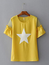 Damen Solide Geometrisch Muster Einfach Lässig/Alltäglich T-shirt,Rundhalsausschnitt Kurzarm Chiffon