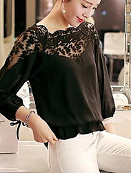 Women's Casual/Daily Simple Summer Blouse,Solid Round Neck ¾ Sleeve Cotton Medium