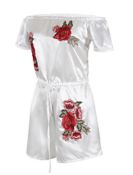 ANGELL Women's New Mid Rise Going out Casual/Daily RompersFlower Relaxed Embroidered Summer