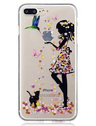 Назначение iPhone X iPhone 8 Чехлы панели IMD Прозрачный С узором Задняя крышка Кейс для Кот Соблазнительная девушка Мягкий Термопластик