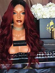 Mujer Pelucas de Cabello Natural Remy Encaje Frontal Frontal sin Pegamento 180% Densidad Ondulado Grande Peluca Negro / Borgoña Corto