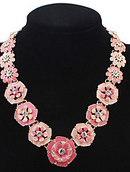 Euramerican Personality Elegant Multicolor Flowers with Rhinestone Lady Party Necklace Movie Jewelry