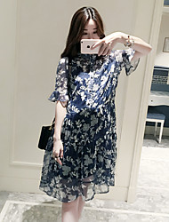 Damen Swing Kleid-Kleid Einfach Solide Blumen Rundhalsausschnitt Knielang ½ Länge Ärmel Chiffon - Satin Sommer Hohe Hüfthöhe