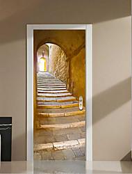 77*200cm 2Pcs Creative 3D Stone Steps Wall Stickers DIY Mural Bedroom Vinyl Waterproof Door Stickers Poster Home Decor