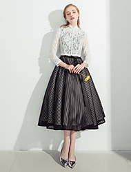 A-Line High Neck Tea Length Lace Cocktail Party Dress with Lace