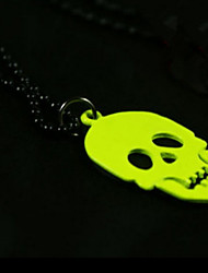 Halloween Jewelry Pendant Necklaces Punk Skull Fluorescent Color Long Korean Sweater Chain