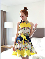 Women's Holiday A Line Dress,Print Halter Mini Sleeveless Others Summer High Rise Micro-elastic Medium