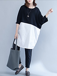 Women Casual/Daily Simple Loose Dress,Solid Round Neck Maxi Short Sleeve Linen Summer Mid Rise Micro-elastic Medium