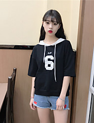 Women's Daily Simple T-shirt,Color Block Hooded Half Sleeve Cotton